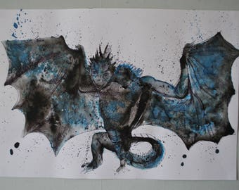 Dragon original art black and blue ink and pen on watercolour paper