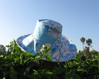 Wide Brim Sun Hat Tropical Floral Blue White Print Women