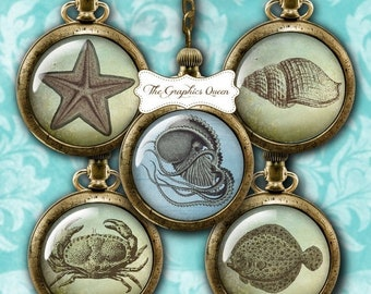 80% Off Spring Sale Vintage Sealife Digital Download 12 mm and 25 mm, 1 inch Digital Collage Sheet Round Cabochon Images for Steampunk Jewel