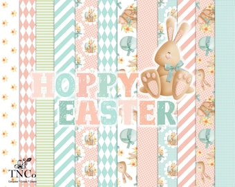 Easter digital paper, Pink plaid paper, Printable paper, commercial supplies, patterned paper, Rabbit clipart, Childrens illustration, TNCo