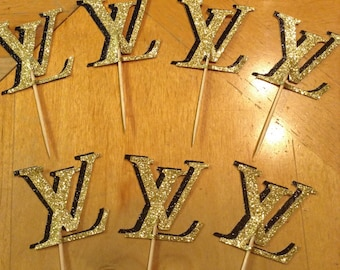 Louis Vuitton Glitter Cupcake Toppers
