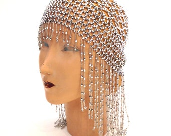 Vintage 1920s Gatsby FLAPPER Bohemian SILVER Romantic BEADED Headpiece