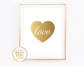Gold foil, Heart, Gold foil print, Real foil, Silver foil, Home Decor, Art, Gallery Wall, Office decor, Nursery Decor, Love