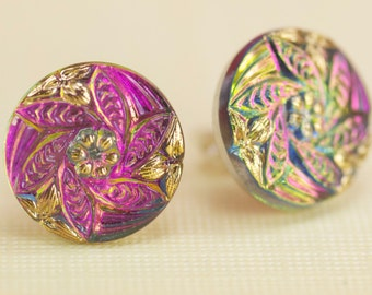 Gold and Rose Tone Czech Glass Post Earrings