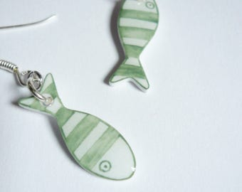Earrings small green fish