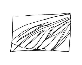 Wing - Black & White Line Drawing