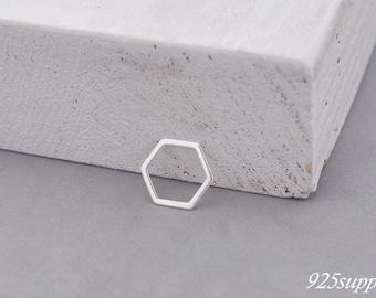 925 Sterling Silver hexagon, silver hexagon, hexagon pendant, hexagon charms, little hexagon, hexagon outline, narrow hexagon, geometric