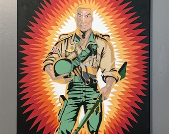 "18""x24"" ORIGINAL ""Duke On Card"" - G.I. Joe Pop Art - acrylic & pen canvas painting - Action Figure Toy Real American Hero 1980's Cartoon"