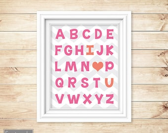 Pink Coral Nursery Wall Art Alphabet I love You Heart ABC's Girl's Chevron Printable 11x14 Digital JPG Instant Download (23-1)