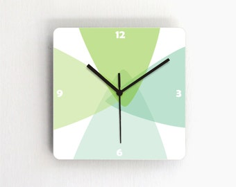 Green Turquoise Pastel Geometric Modern Wall Clock,square wood printed decorative patterned graphic design handmade clock,hostess home decor