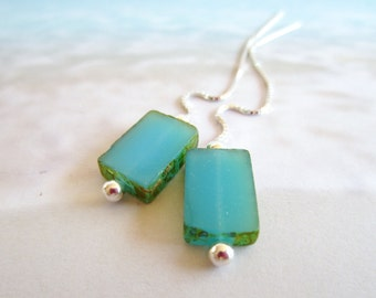 Threader Earrings-Turquoise Tabs-Sterling Silver