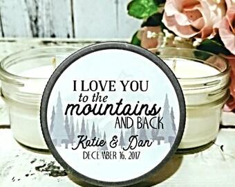 Rustic Wedding Favor - Mountain Wedding Favor - Wedding Candles - Forest Wedding - Candle Wedding favor - Winter Wedding Favors - Set Of 12
