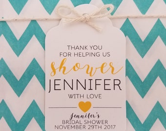 Wedding Gift Tags - Thank You Bridal Shower - Bridal Shower Favor Tags - Customizable Personalized (WT1712)