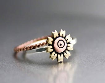 Sweet Sunflower Stack Rings, Rose Gold Band, Yellow Sunflower Ring, Flower Stack Ring, Womens Stack Rings, Fall Flower Ring, Silver Ring
