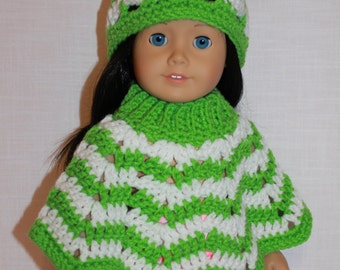 2 piece set, 18 inch doll clothes, doll lime green and white crochet hat & poncho,  Upbeat Petites