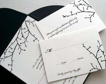 Winter Branch Silhouette Wedding Invitation Black and White - Sample Wedding Invite - Winter - Silhouette - Branch Design - Romantic