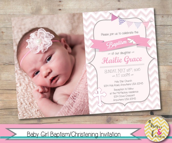 Girl baptism invitation printable christening invite like this item stopboris Image collections