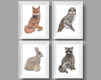 Woodland Nursery Art - Fox Nursery Art - Owl Nursery Decor - Rabbit Nursery Print - Raccoon Art For Kids - Animal Art For Kids - Animal Art