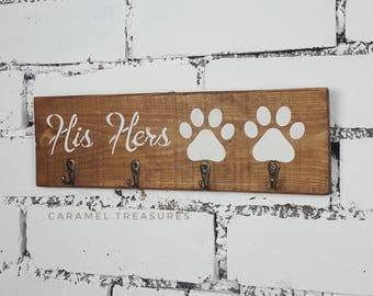 His hers dog, His hers key rack, His hers sign, leash hanger, key hook, entryway organiser, Christmas gift, anniversary gift, couples gift