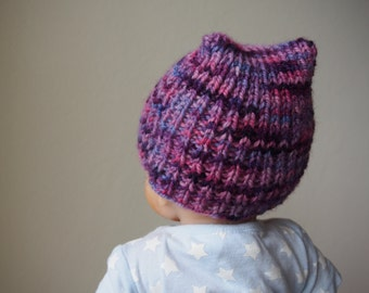 baby knitting pattern pdf - baby hat with ears - newborn hat pattern - includes matching adult size