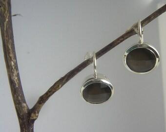 Surmai earrings - Smokey Quartz - Grey - Sterling silver (925 carat) - Silver earrings