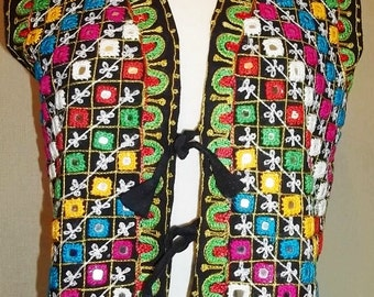 Unique 50's Vest - Hand Embroidered With Shisha Mirror - Unique Style - COLORFUL Threads Vintage Vest Free Shipping