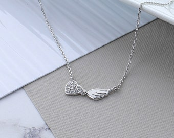 Heart Wing Silver Necklace