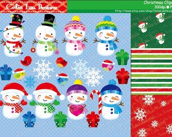 Christmas clipart - Snowman, Christmas bird, snowflake - Christmas Digital Clip art (CG097)