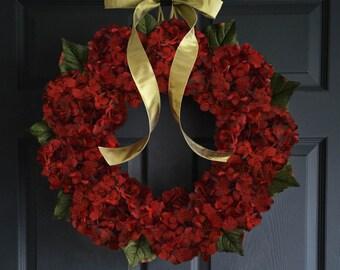 Red Hydrangea Wreath | Burgundy Hydrangeas | Front Door Wreaths | Outdoor Wreath | New Home Door Wreath | Year Round Wreath for Door