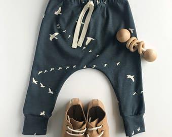 Organic Baby Harems, Navy Baby Harems, Bird Baby Harems, organic baby pants, navy baby pants, baby joggers, bird print joggers