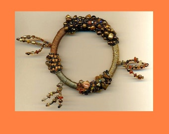 Copper Silver Gold Toned Brass Wire Wrapped Bangle with Pearls and Terra Cotta Beads ooak
