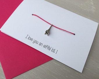 Love you an Eiffel Lot! - eiffel tower / paris pink bracelet and card