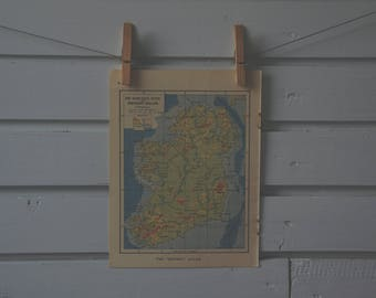 1930's Vintage Map of Ireland