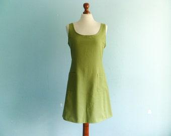 Vintage Green Dress / Casual Day Dress / A line / Sleeveless / Short / Summer / medium