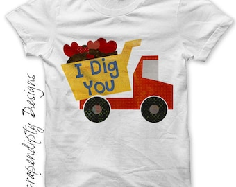 Dump Truck Iron on Transfer - Iron on Boys Valentine Shirt PDF / I Dig You / Toddler Valentine Outfit / Kids Boys Dump Truck Hearts IT344