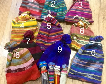 Large Worry Dolls Sets of 4 or 6 Dolls in a Guatemalan fabric bag Large size