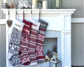 "Personalized Large 28""  Knitted Christmas Stockings Red Grey White Intarsia Fair Isle Nordic Modern Christmas Stockings for Holidays"