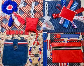 Americana, Patriotic Fidget Quilt for Dementia, Alzheimer's Restless Fingers