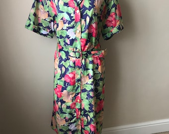 pretty 80s cotton summer floral holiday dress
