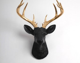 Faux Taxidermy - Faux Deer - The XL Alexandr- Black + Gold Resin Deer Head- Stag Resin Black Faux Taxidermy - Modern Home Decor
