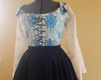 Historic Bodice WITH Stomacher Blue Aqua, Size M L, 18th Century front-closing Stays Renaissance Fair Colonial Dress, Georgian Costume,