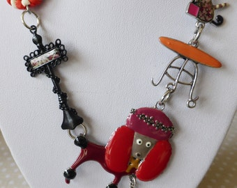 New necklace LOL dog & cat red enameled metal