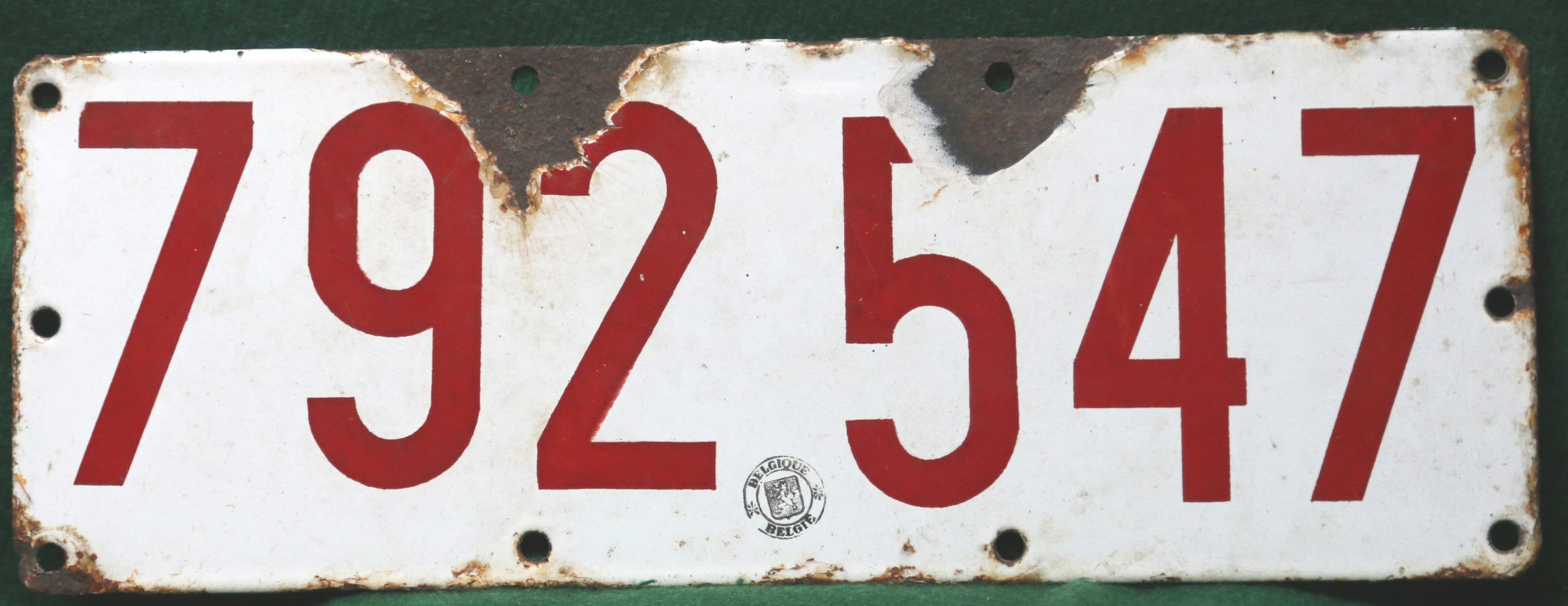 Very Old Belgian automobile registration number plates.