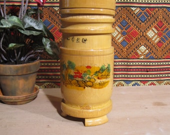Vintage Chinese Bamboo Incense Container with Lid