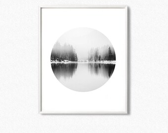 Forest circle prints, landscape prints, fog forest landscape, forest, circle print, pine trees, forest wall art, forest photo, wilderness