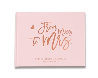 From Miss to Mrs Bridal Shower Guest Book Ideas, Blush and Rose Gold Bridal Shower Decorations, Color Choices Available, BB004