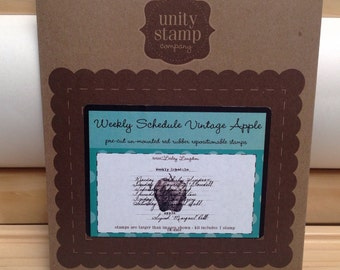 Weekly Schedule Vintage APPLE Unity Stamp Company red rubber unmounted cling stamp Unused