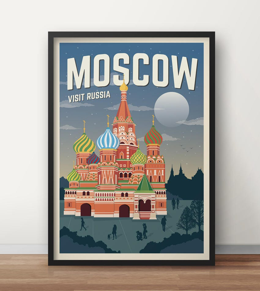 vintage moskau reisen russland poster plakat travel poster. Black Bedroom Furniture Sets. Home Design Ideas