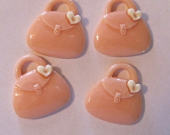 Cute Peach Purse Resin Cabochons Buttons Lot of 4