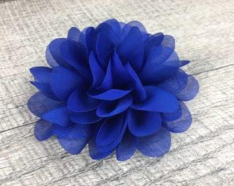 "4"" Royal Blue Chiffon | Flower for Dog Collar | Medium/Large Dog | CupcakePups"